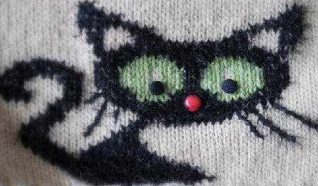 орнамент кошки, вязание спицами
