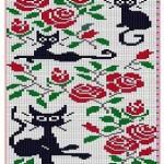 Жаккард. Орнамент «кошки», схемы и рисунки.
