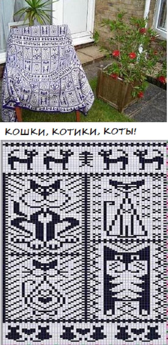 """красивые схемы, узоры, орнаменты для вязания жаккарда спицами, тема """"Кошки"""""""