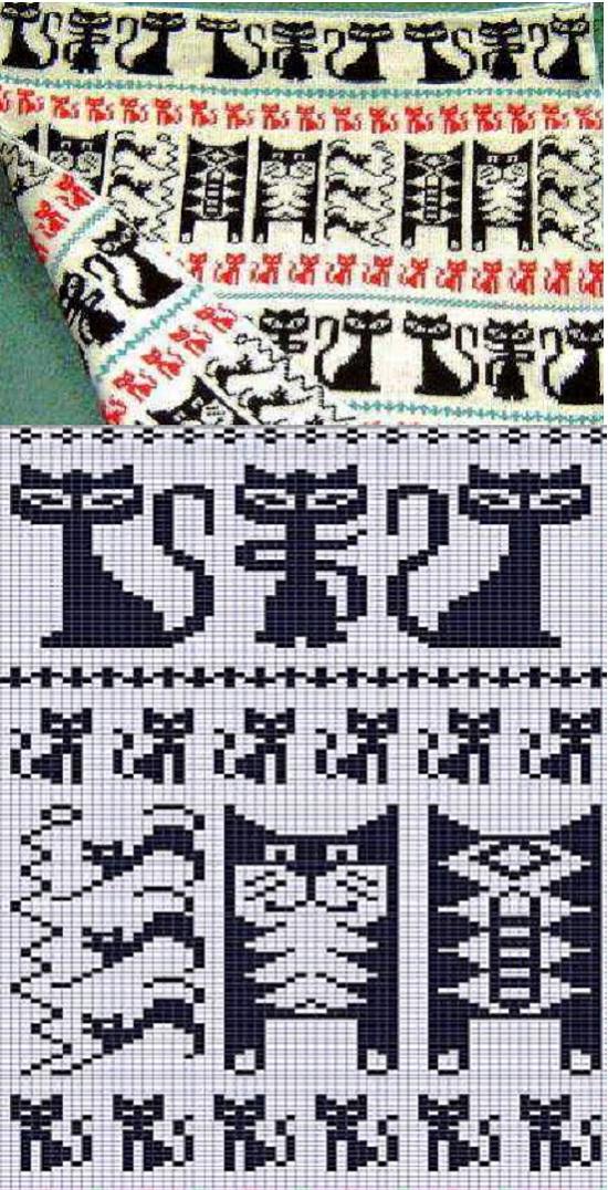 жаккардовый орнамент, схемы, шаблоны для вязания спицами