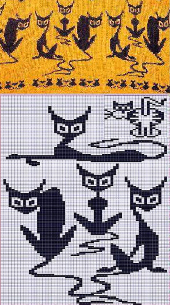 """вязать жаккард по схеме """"кошки"""", узоры,орнаменты, шаблоны для вязания спицами"""