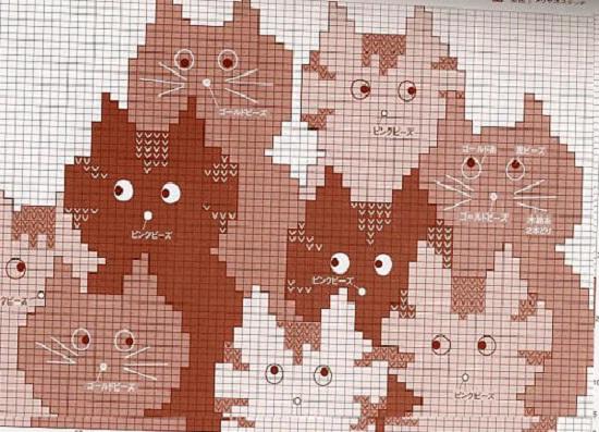 Жаккард. Орнамент «кошки», схемы и рисунки.. Обсуждение на