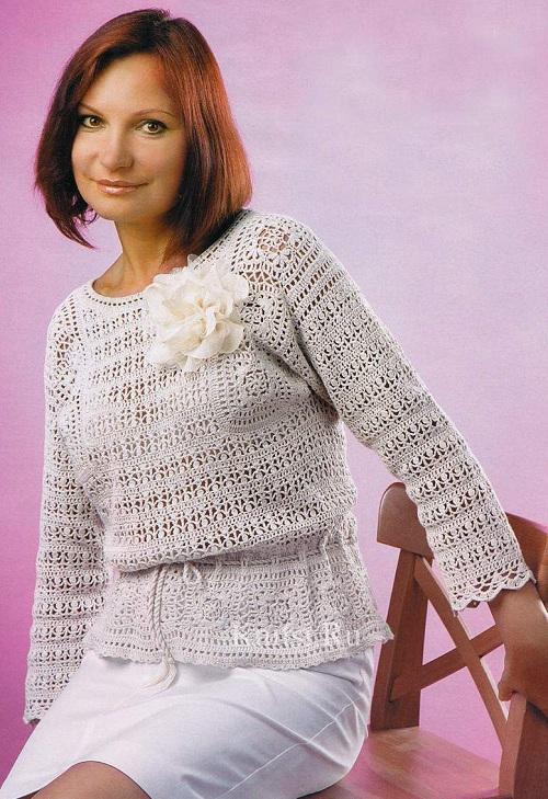 Льняной пуловер связанный крючком