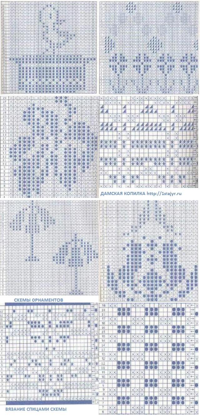 схемы вязания орнаментов