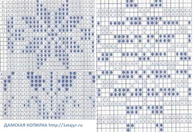 схемы орнаментов для вязания спицами