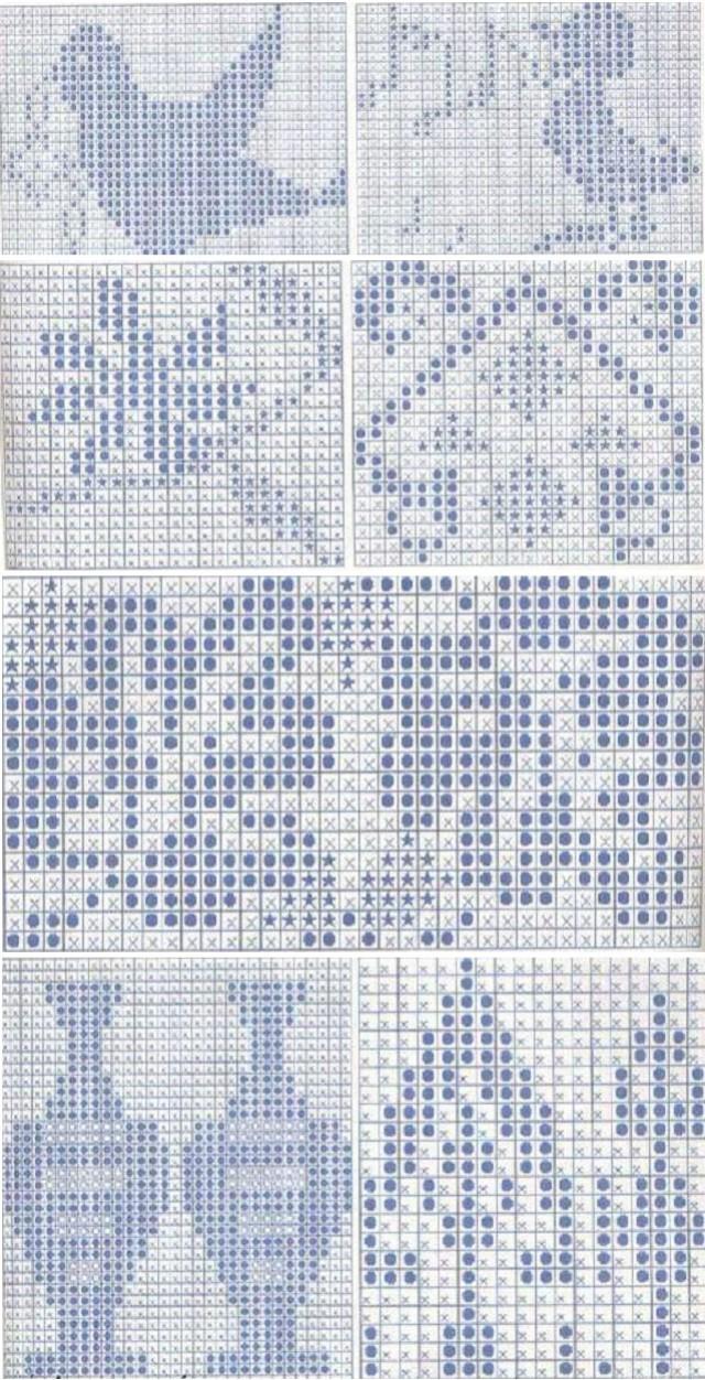 схема орнамента снежинка на вязанных варежках