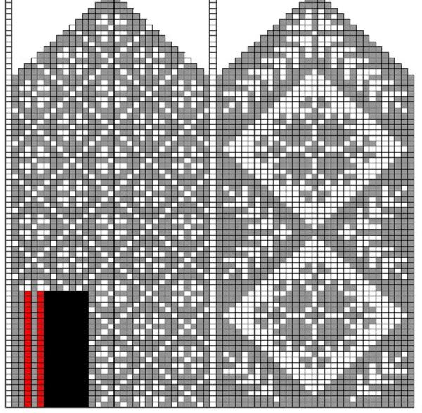 схема вязания варежки