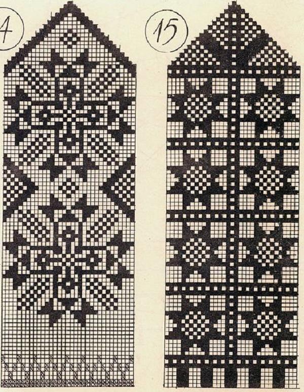схемы вязания варежек