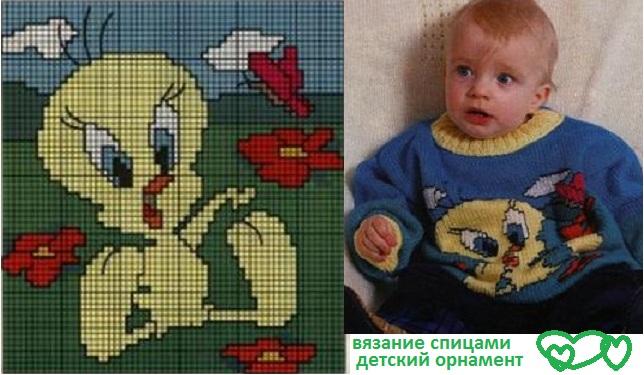 детское вязание спицами, схема орнамента