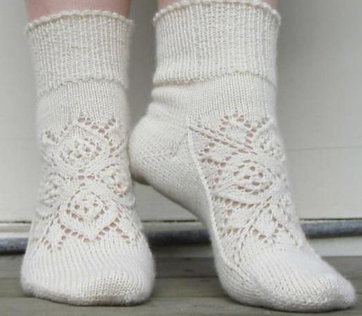 вязание спицами ажурные носки