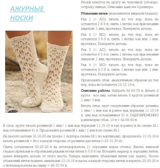вяжем ажурные носки спицами