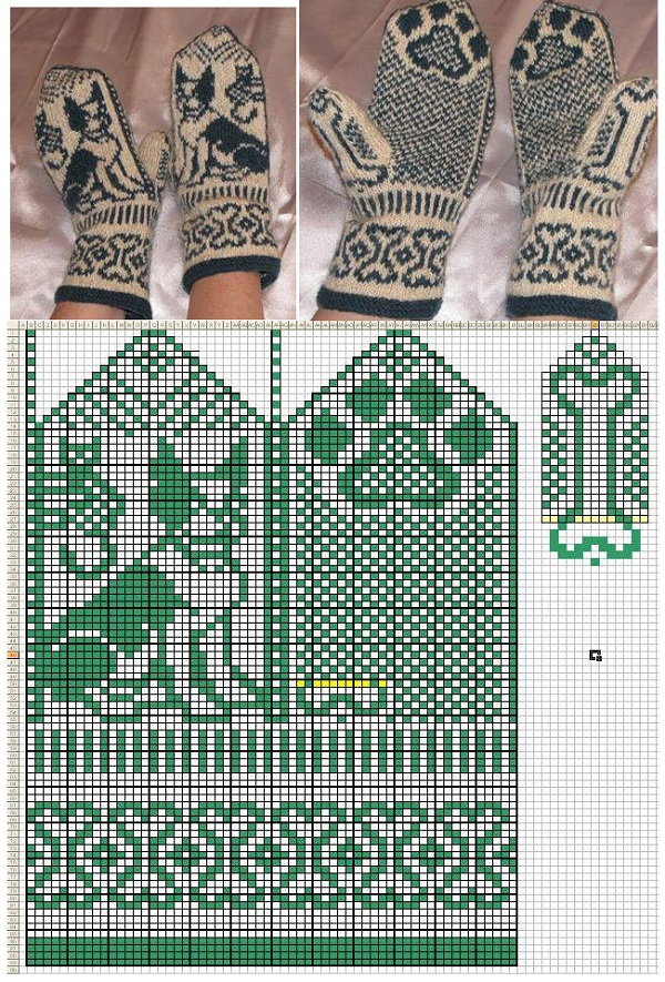 женские вязанные варежки с оригинальным орнаментом