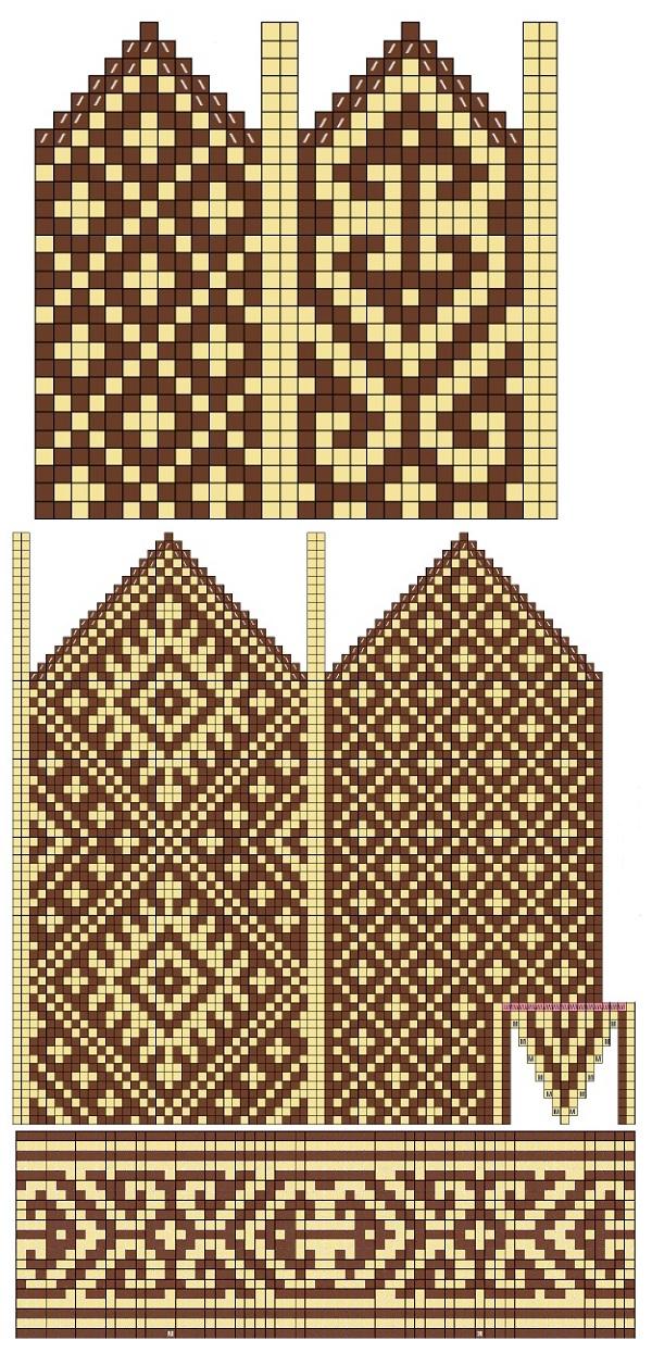 схема орнамента для женских варежек
