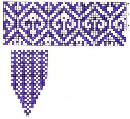 схема рисунка для женских рукавиц