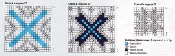 схема рисунка для вязания носков
