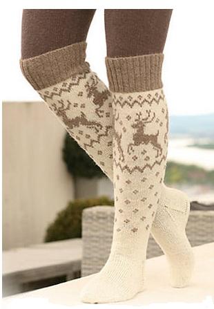 схема вязания носка с оленями