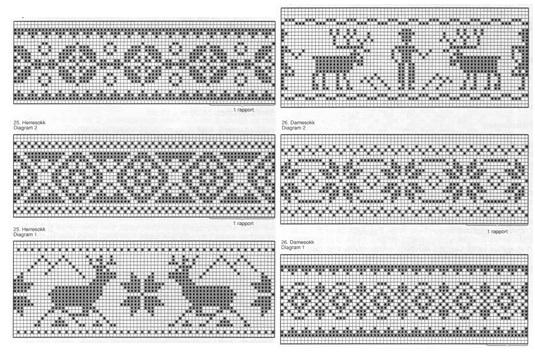 орнаменты для вязания носков