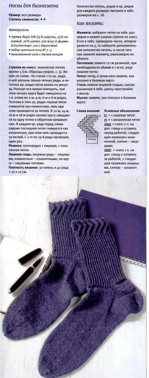 вяжем элегантные мужские носки спицами, схема с описанием
