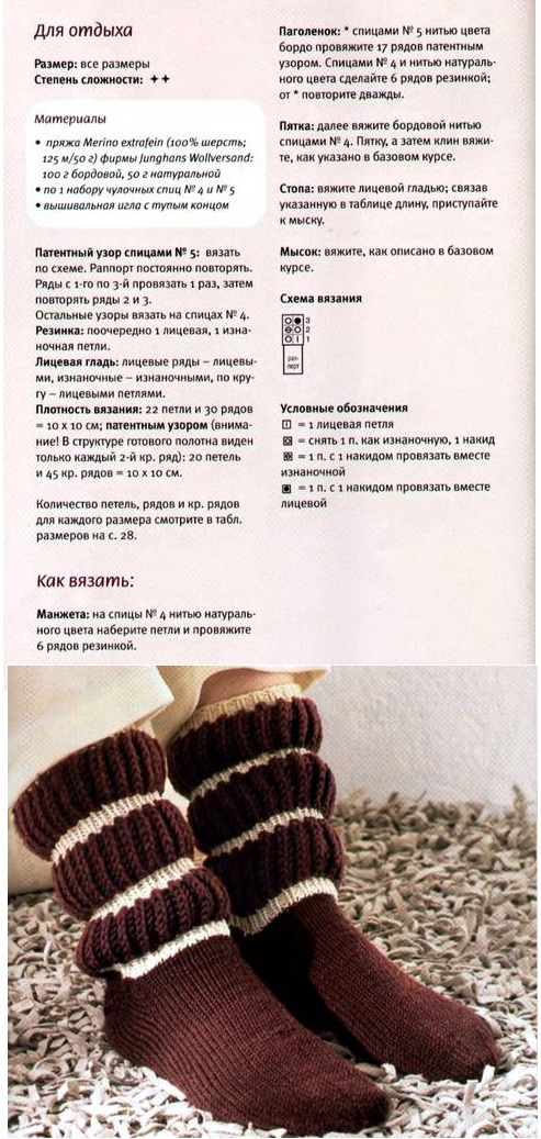 вязание носков спицами, подробно с описанием