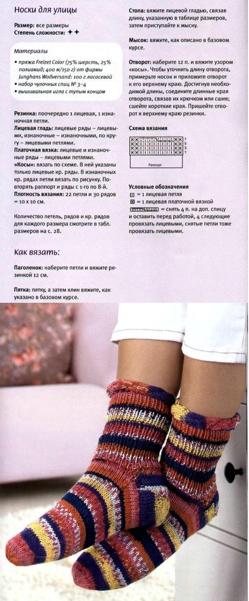 цветные женские носки вяжем своими руками