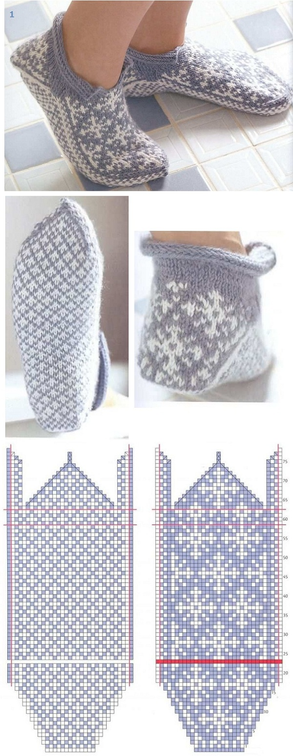 красивая схема орнамента для вязания носков с мыска