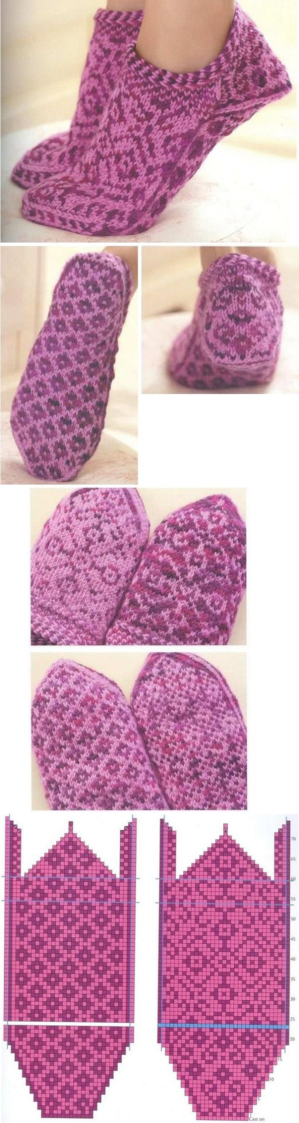 красивая схема для вязания женских носков с мыска