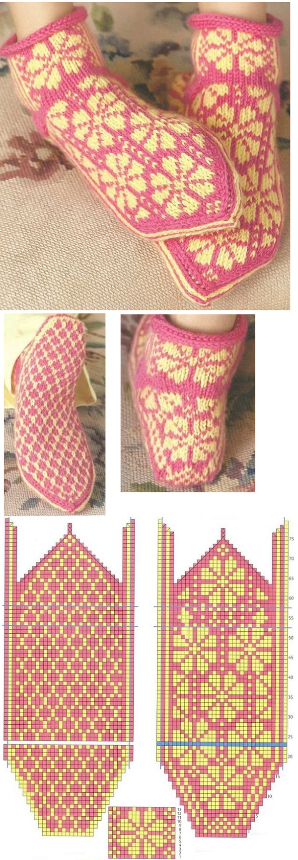 красивая цветочная схема орнамента для вязания носков с мыска