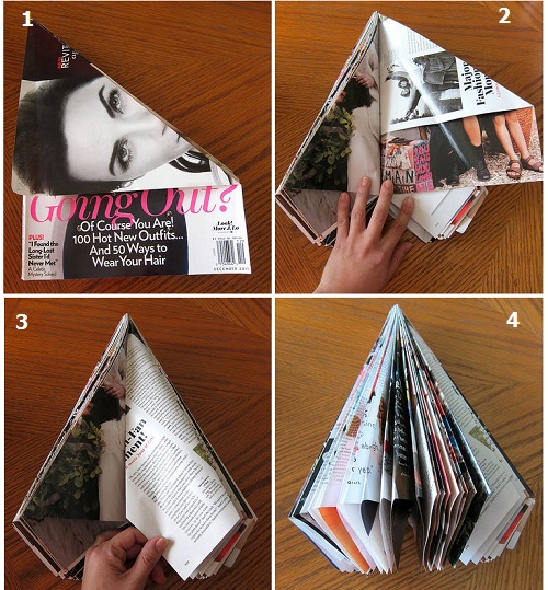елку сделаем из старых журналов