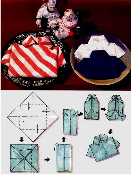 """подробная инструкция - как сложить салфетки в форме """"Рубашка"""""""