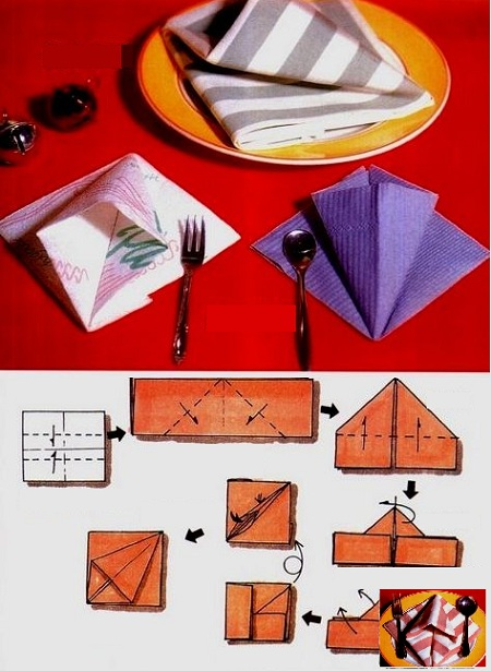 пошаговая инструкция - как красиво свернуть салфетки