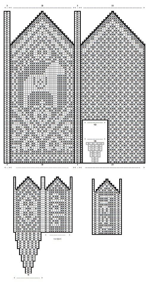 схема для вязания варежки с пальчиком - клином