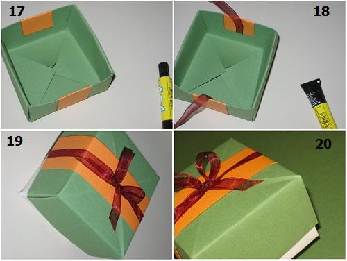 украшаем коробку лентой и завязываем бант