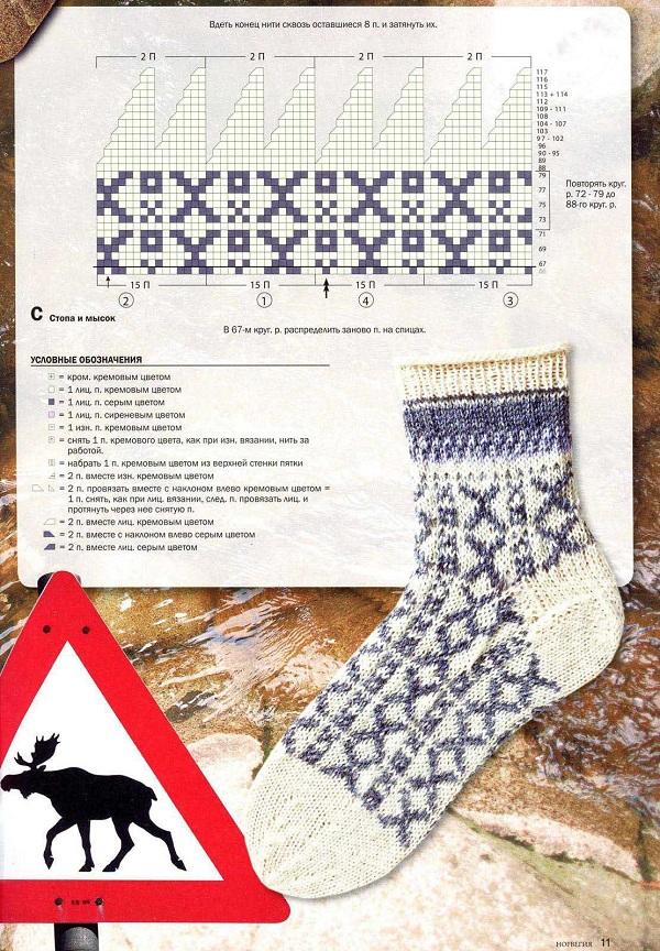 белые женские носки с орнаментом