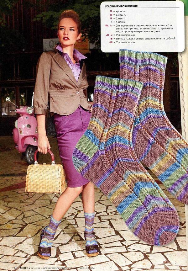 яркие полосатые женские носки
