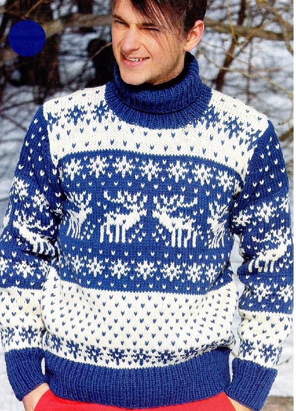 модель мужского свитера с оленямя