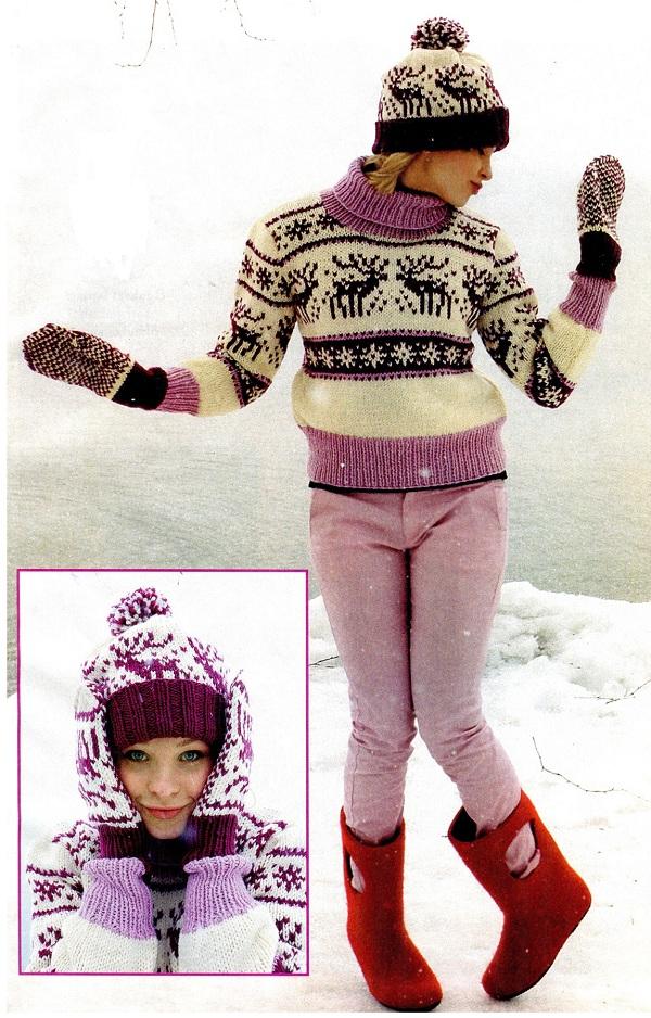 модель женского свитера с оленями