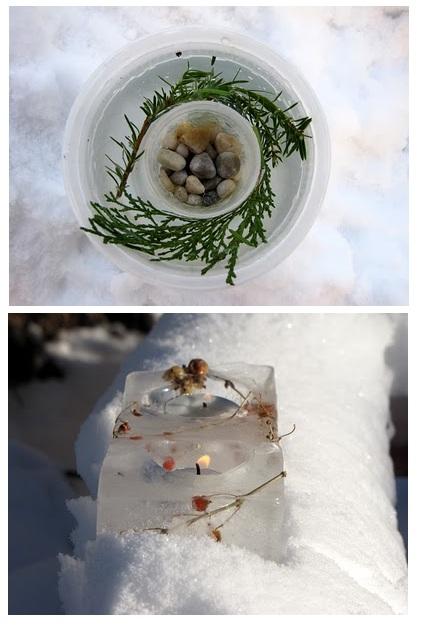 ледовые фигуры с веточками и ягодами из сада