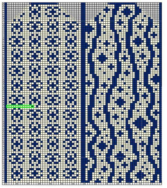 схема для вязания левой зимней варежки с мелким узором