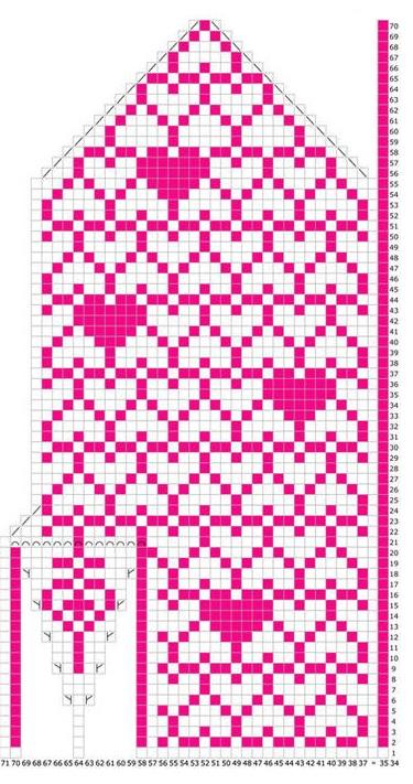 схема для вязания ладони зимних варежек