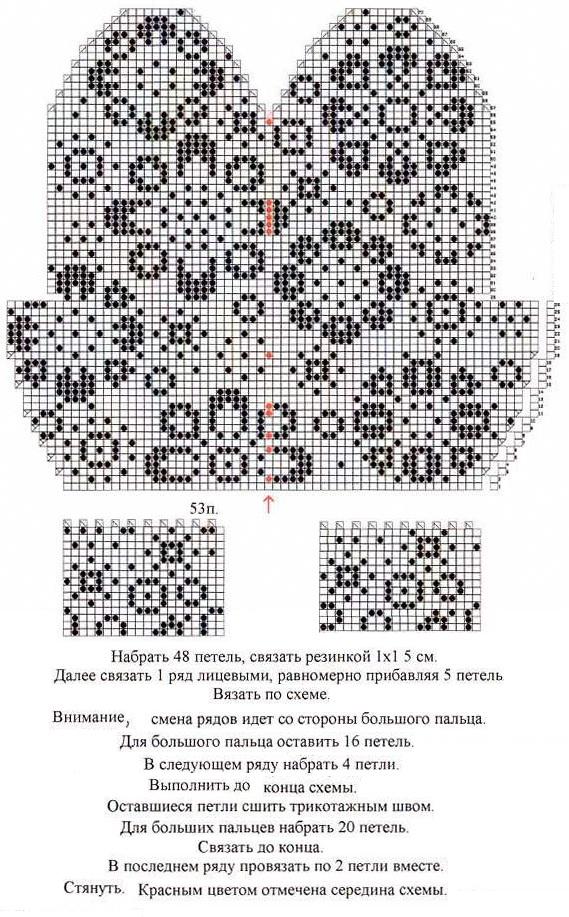 здесь схема и подробное описание вязания зимних варежек с цветочным орнаментом