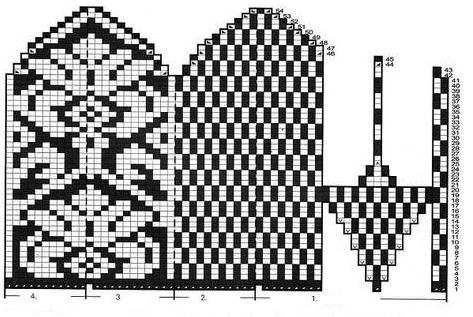 схема для вязания зимних варежек с графическим узором