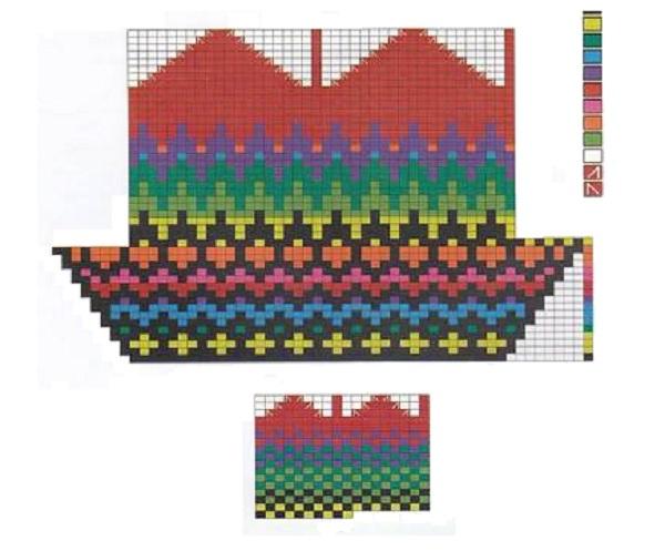 схема для вязания зимних деревенских варежек из шерсти