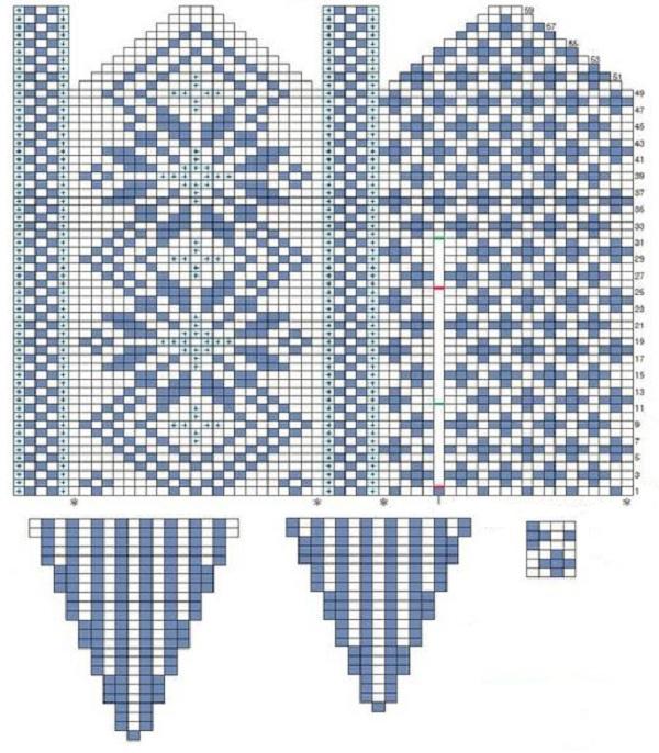 схема для вязания зимних варежек с норвежским узором