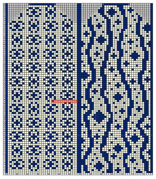 схема для вязания правой варежки с мелким узором