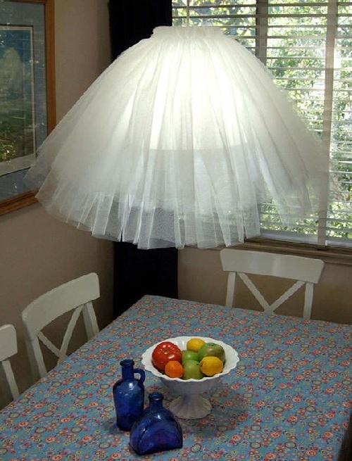 потолочный светильник из тюля своими руками