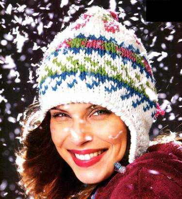 вязанная женская шапка с ушками, жаккардовый узор