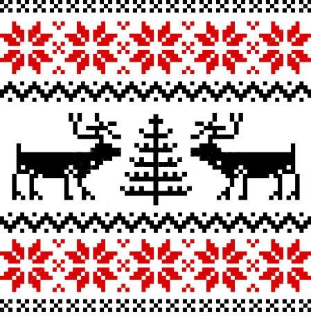 узор с норвежскими звездами, оленями и елками