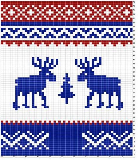 Олени норвежские узоры по вязанию