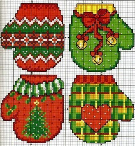озоры для вязания рождественских варежек