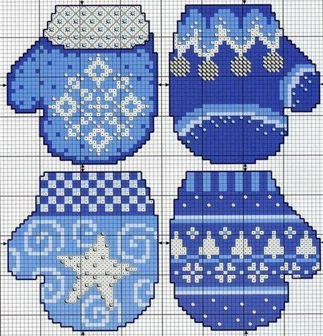 схема для вязания рождественских варежек